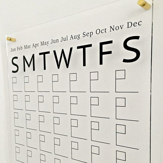 Acrylic Calendar With Side Notes, Dry Erase Wall Calendar
