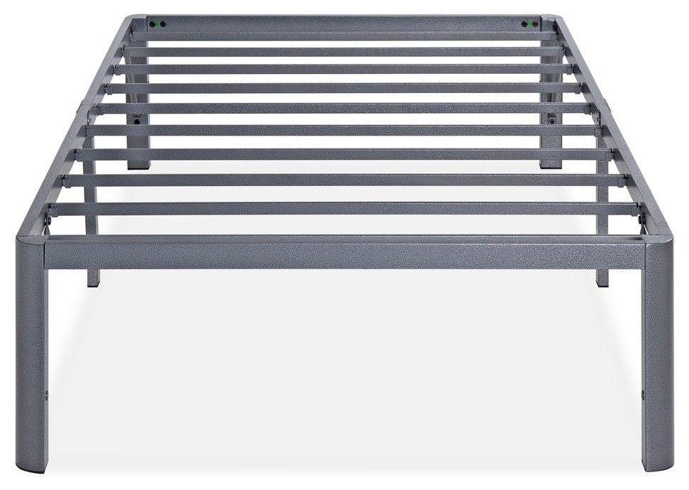 Ash 14 Gray Steel Slat Bed Frame With Round Corners King Bed