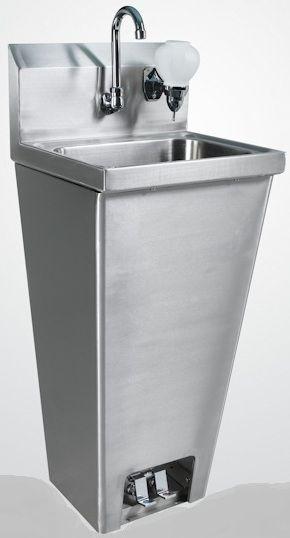 All Stainless Foot Pedestal Hand Sink w Soap Dispenser | Liebchen ...