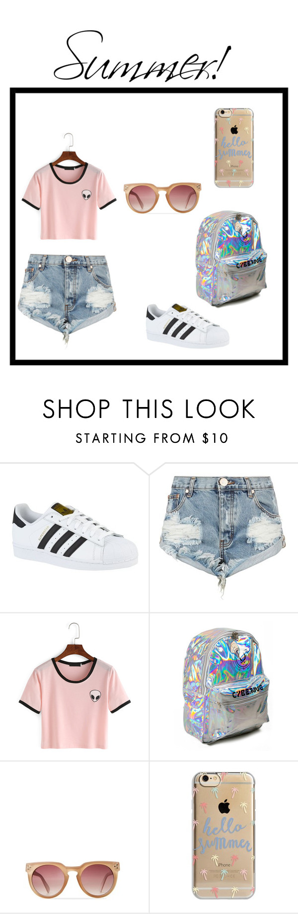 """""""You don't have to me matching to be cute. It's summer!"""" by taylorglover323 ❤ liked on Polyvore featuring adidas, One Teaspoon and Agent 18"""