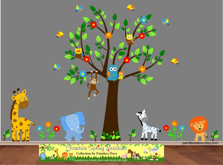 Blue Elephant Zoo Animals Friends Wall Decal Sticker Sb - Zoo animal wall decals