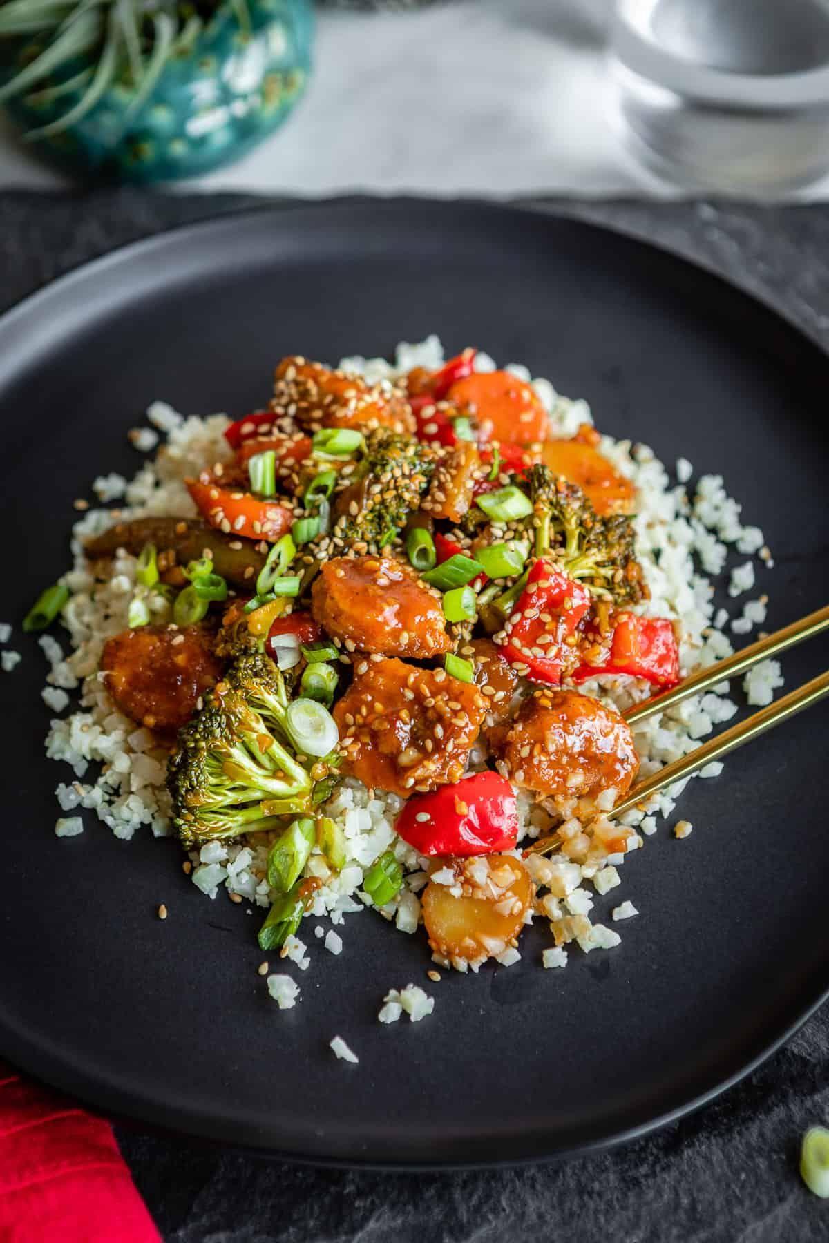 Sweet And Spicy Vegetarian Stir Fry With Crispy Tenders