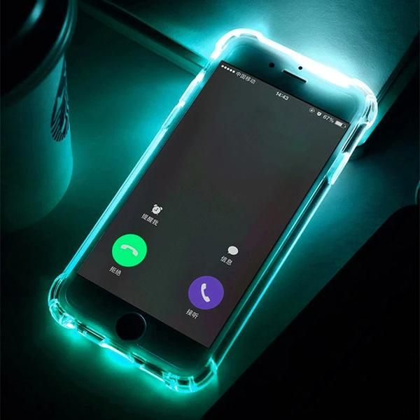 Phone Back Case Fundas For iPhone 7 Plus 5 5S SE 6 6S Cover Anti-Knock Soft  TPU LED Flash Light Up Remind Incoming Call Cases 70daab7858