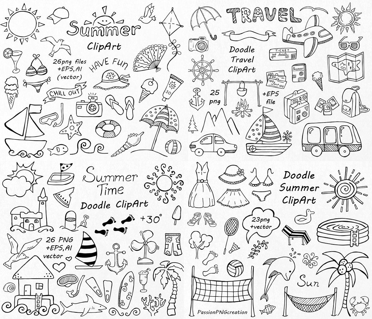 BIG SET Of Doodle Summer Cliparts, Hand Drawn Vacation