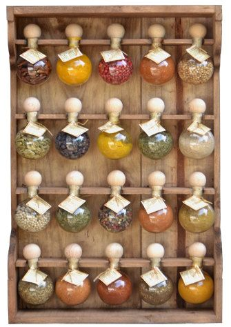 wood shelves wooden spice in retro style with 10 bubbles tint