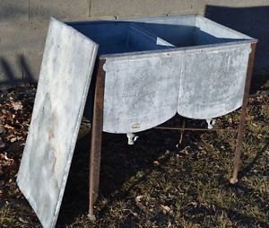 Antique Speed Queen Galvanized Steel Double Sink Washer Wash Basin .