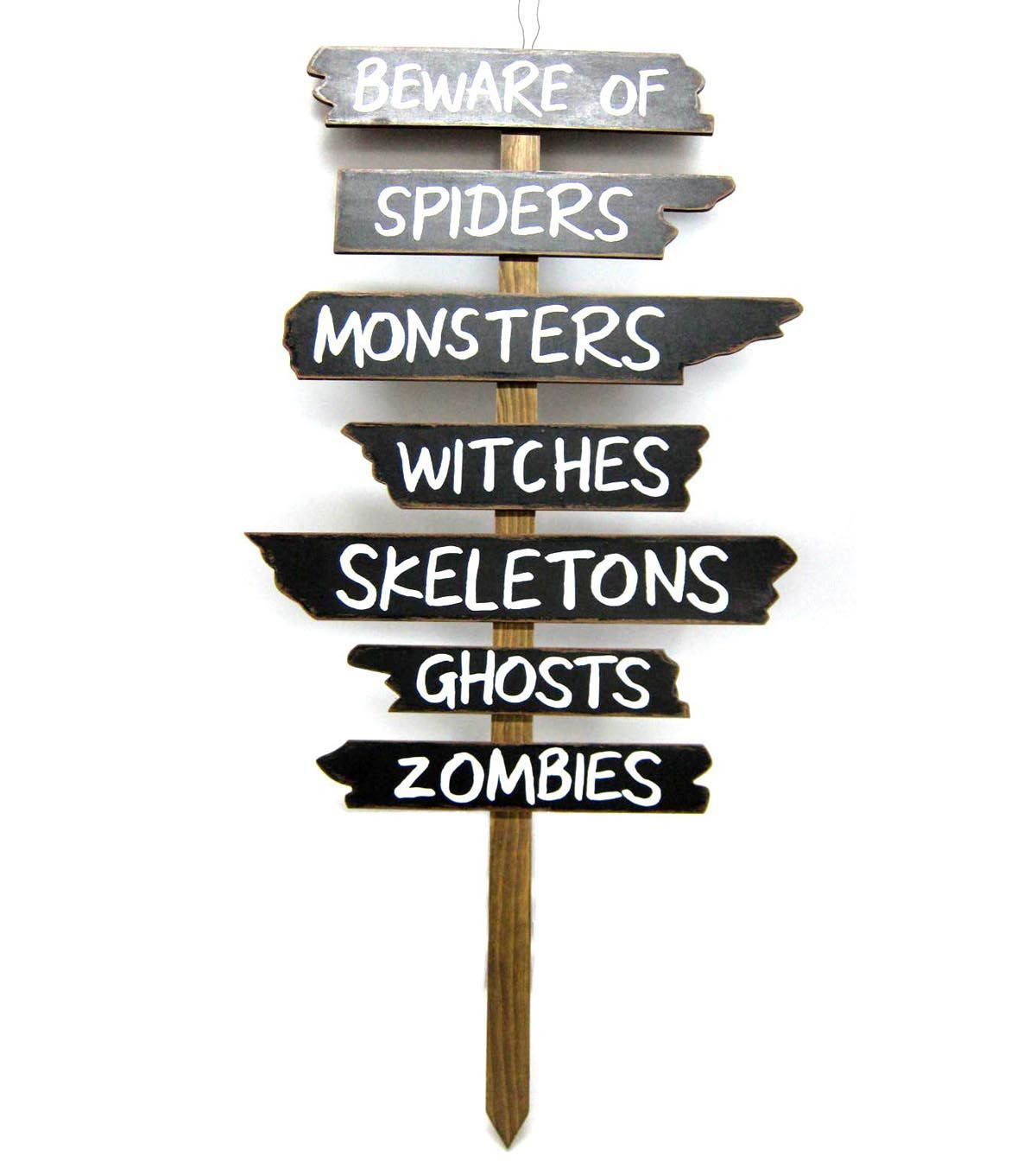 Use The Makers Halloween Wood Yard Stake Beware Sign To Add A Fun Halloween Touch To Your Yard Lawn Gard Halloween Yard Signs Halloween Lawn Beware Halloween