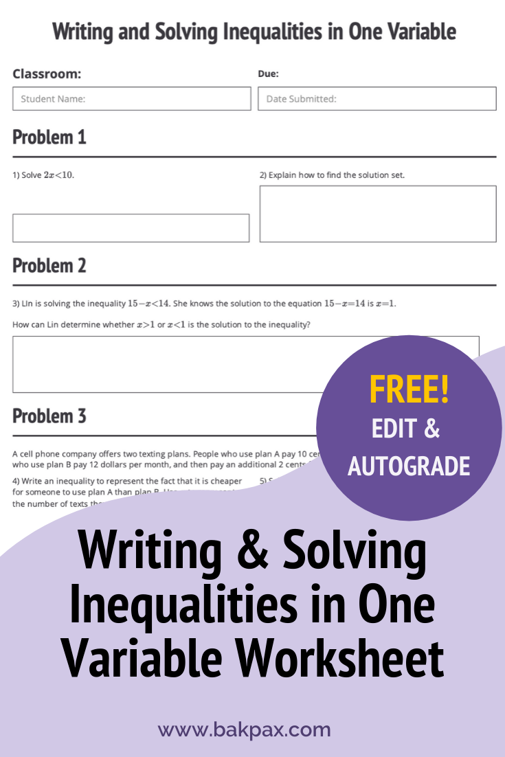 Free Writing & Solving Inequalities in One Variable