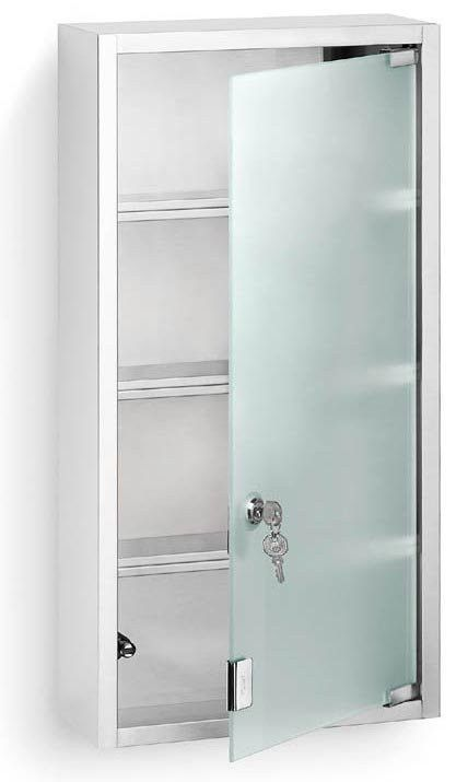 Locking Medicine Cabinet Stainless Steel And Glass Stainless Steel 23 5 H X 5 D X 11 75 W Cabinet Bathroom Wall Cabinets Stainless Steel Cabinets
