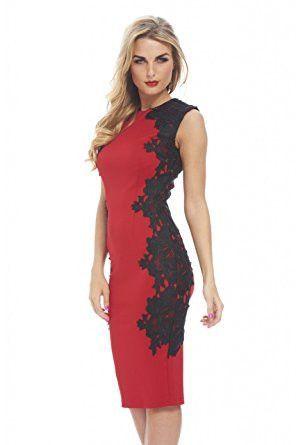 09b3033858 Red Sleeveless Crochet Side Black Lace Midi Dress - 2019 | Products ...