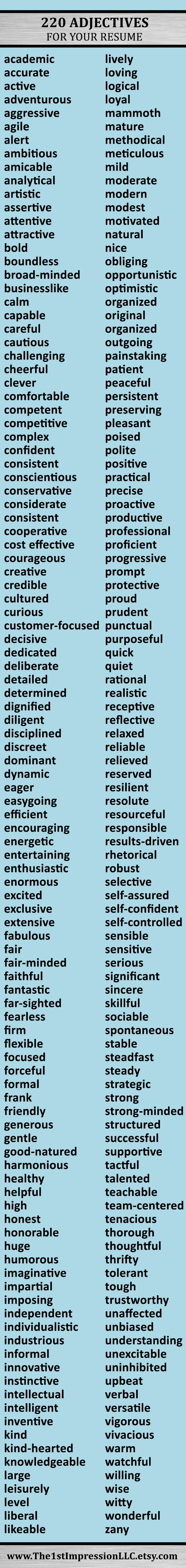 Huge List Of 220 Adjectives To Help You Write Your Resume