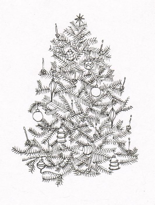 Old Fashion Christmas Tree By Deborah Wetschensky Old Fashion Christmas Tree Christmas Tree Drawing Christmas Tree Drawing Images