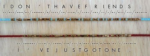 Sherlock Morse code friendship bracelets. I haven't even seen Sherlock yet and…