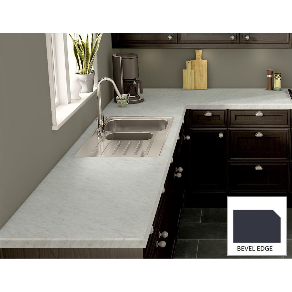 Wilsonart White Carrara Laminate Custom Bevel Edge C F B144492438