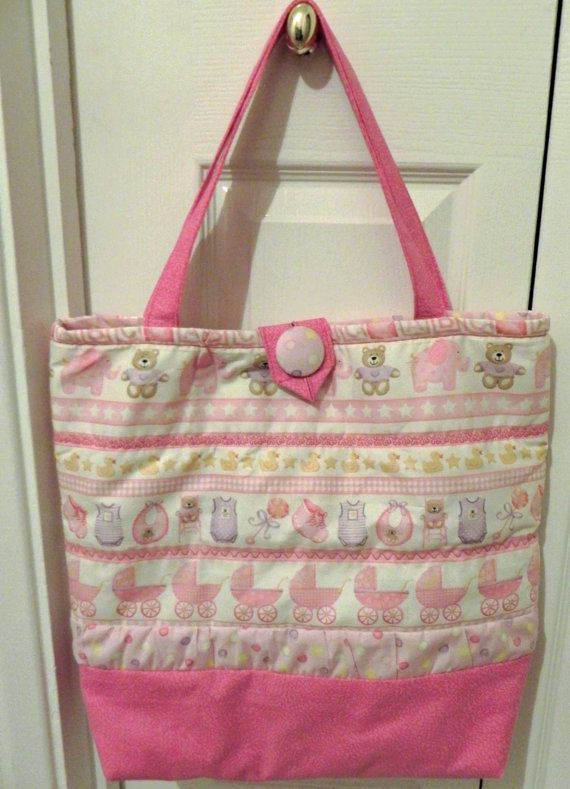 Pink tote bag for new born baby girl by EverSewUnique on Etsy, £27.50