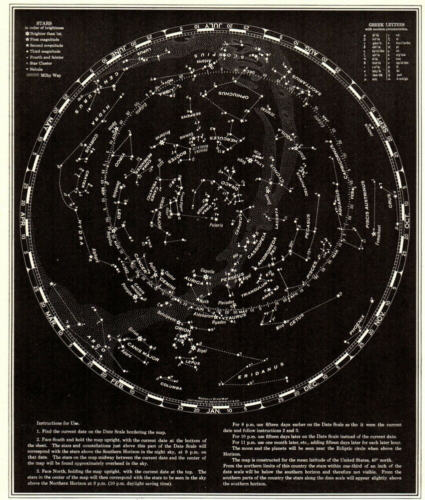 VINTAGE REPRODUCTION-CELESTIAL MAP OF CONSTELLATIONS VISIBLE FROM FRANCE,19TH C
