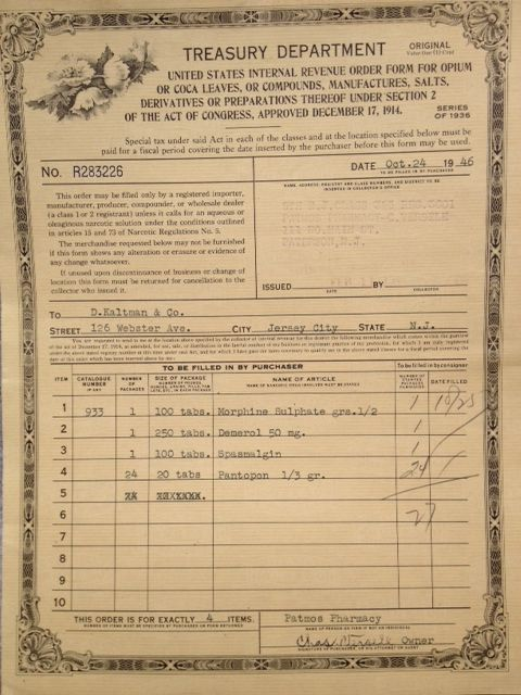 Irs Order Form 1946 For Controlled Substances Series Of 1936 Form