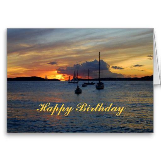 Happy Birthday #Sailboats At #Sunset Greeting Cards U.S