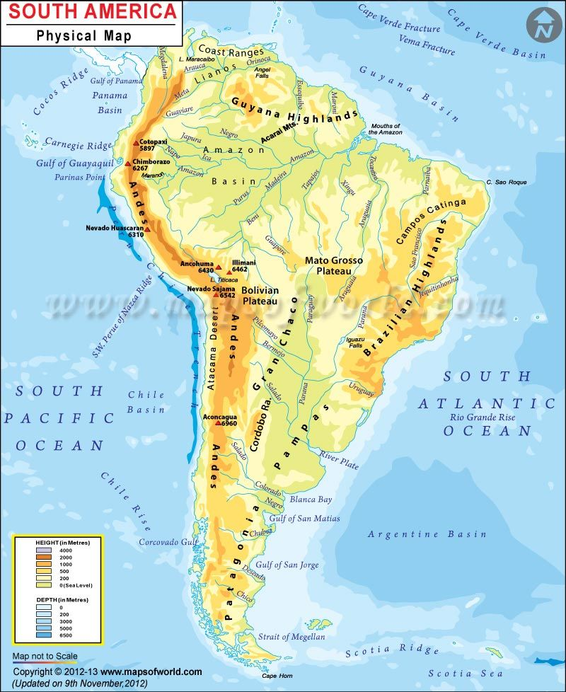 South America Physical Map | Everything\'s Fruity | Pinterest ...