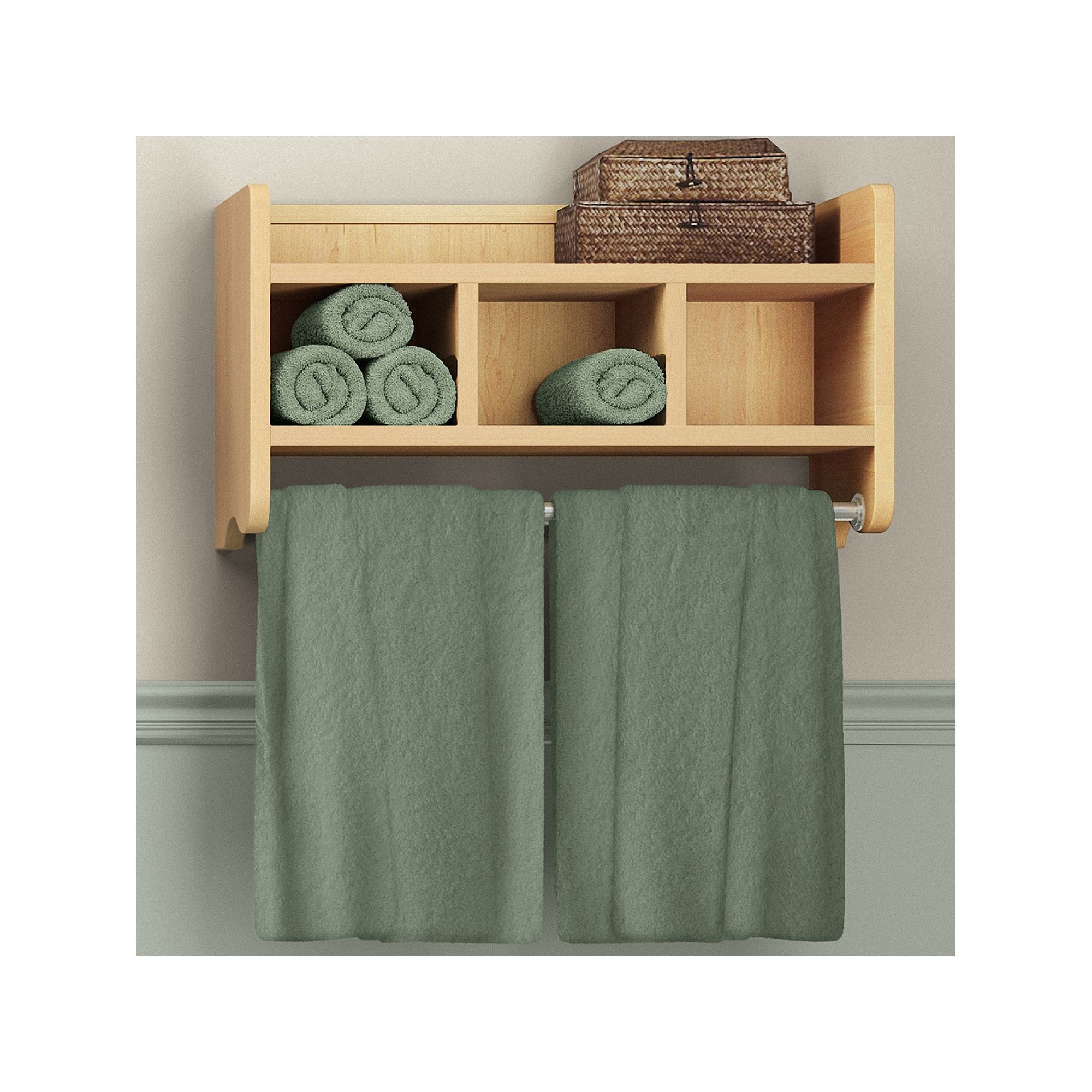 Bolton Bathroom Storage Cubby & Towel Bar Wall Shelf, Brown | Towels ...