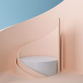Scene design of 3d geometrical with modern minimalist mockup for podium display or showcase, 3d rendering.   Premium Photo