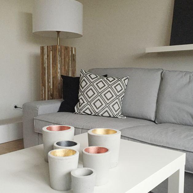 Teelichthalter windlicht beton teelichthalter m kupfer - Beton giessen ideen ...