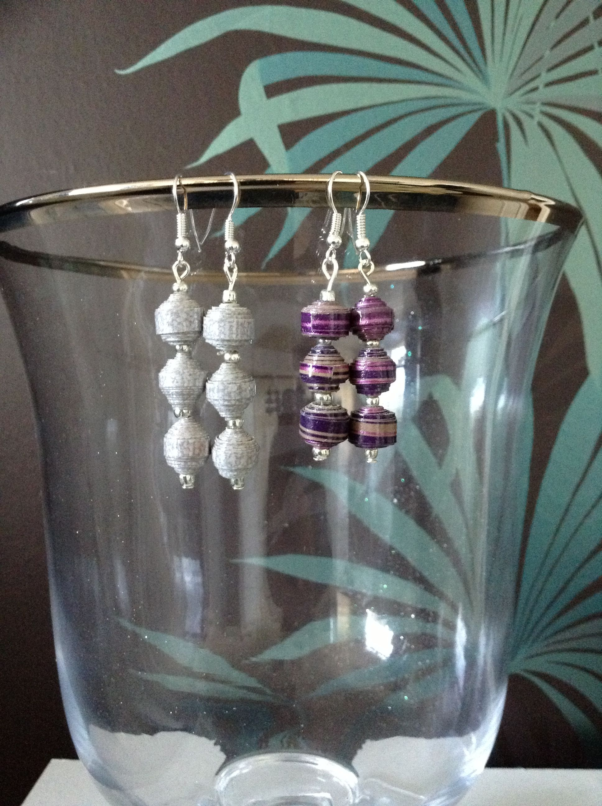 Paper earrings. Silver and purple stripe. X