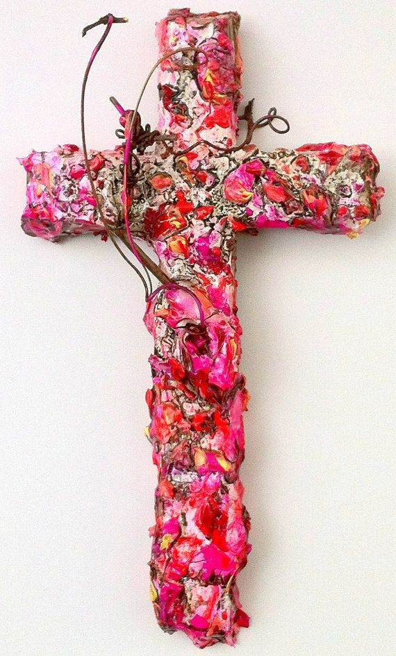 Handmade original wood and plaster cross, painted wall ...