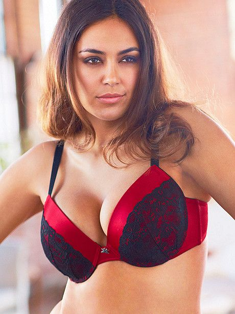 NEW Hollywood Exxtreme Cleavage™ Satin & Lace Full-Figure Bra