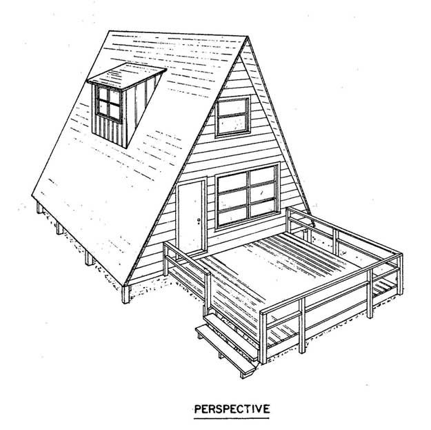 Free A Frame House Plan with a Deck. Could be cool as a guest room ...