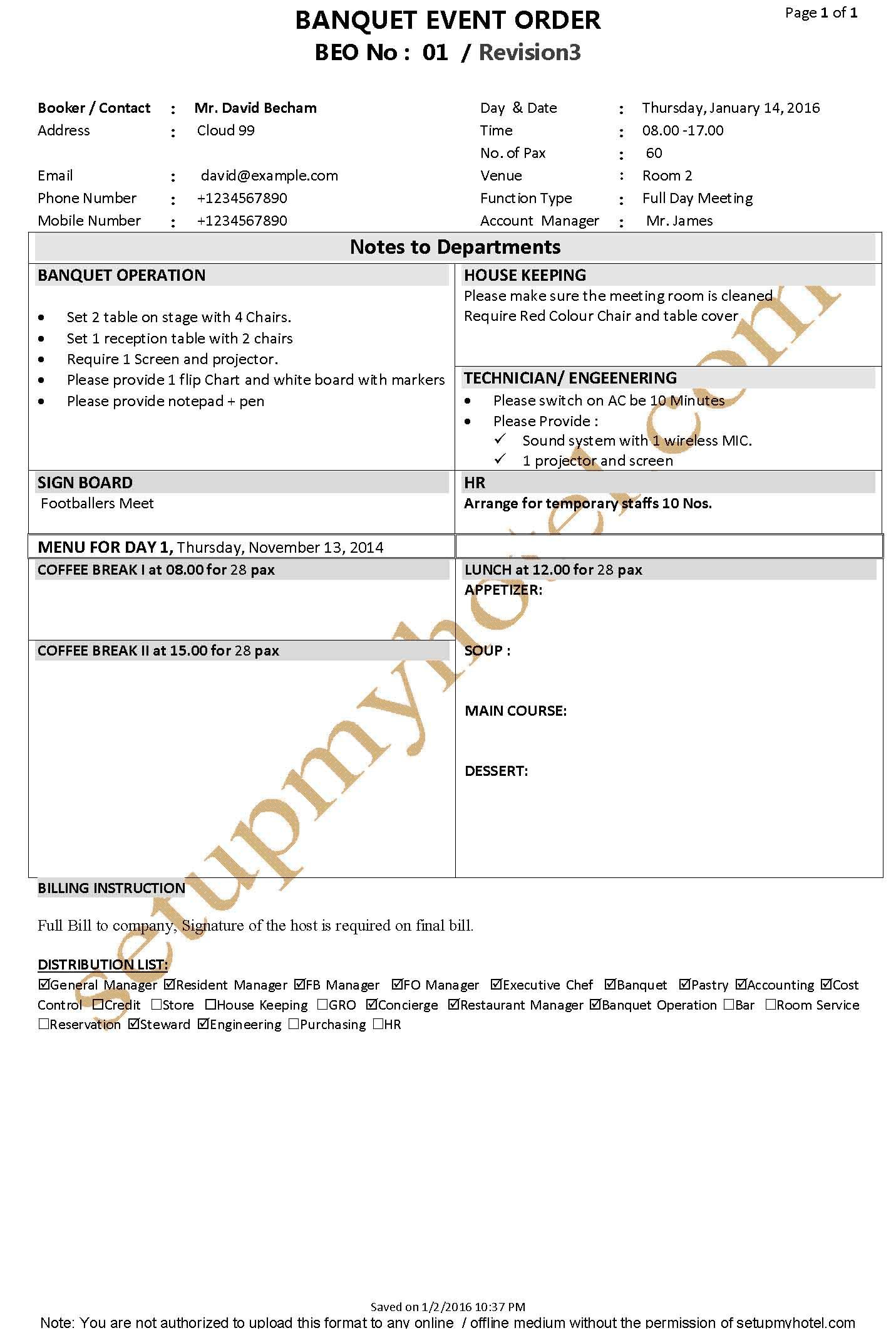 Banquet Function Plan Event Order Form Fp Beo Sample