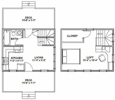 Details About 20x16 Tiny House 584 Sq Ft Pdf Floor