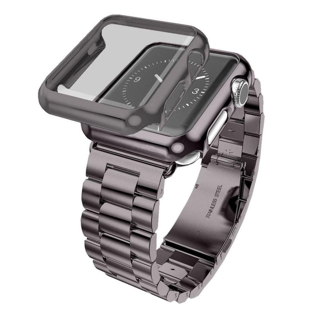 Mikey Store Stainless Steel Bracelet Strap Band Cover Case For Apple Watch Series 2 42mm Black