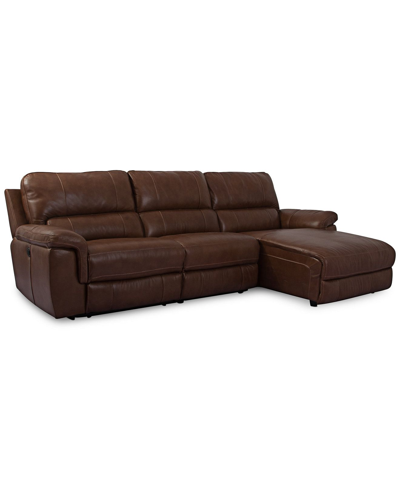 Brandie Leather 3-Piece Chaise Sectional Sofa with 1 Power Recliner ...