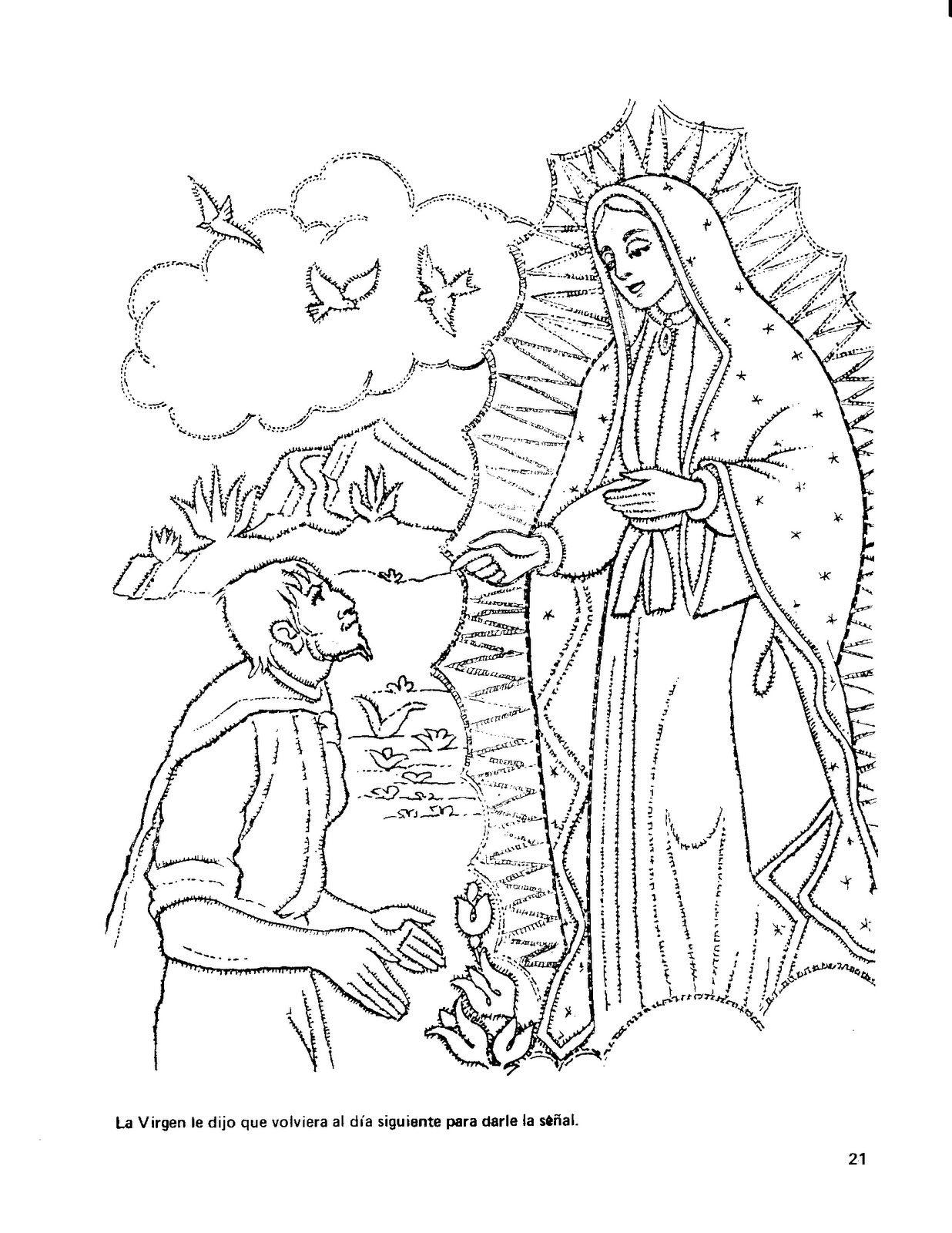 Printable to color of la virgen de guadalupe | Teaching - CICCA ...