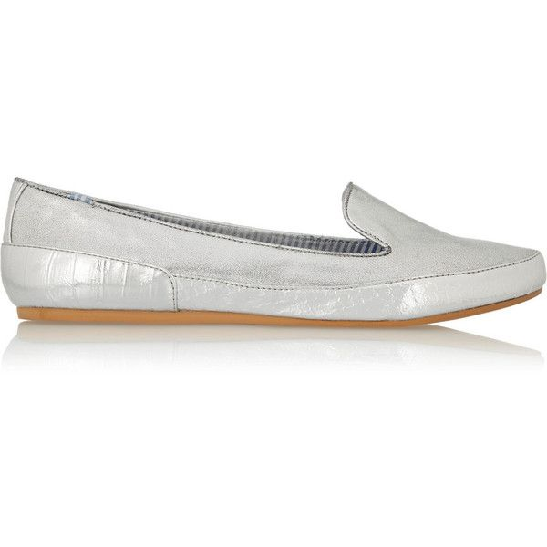 Charles Philip Shanghai Gaby metallic faux leather loafers (£51) ❤ liked on Polyvore featuring shoes, loafers, silver, slip on shoes, slip on loafer, charles philip shanghai, metallic loafers and vegan footwear