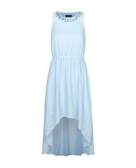 Robe ado bleue à ourlet plongeant et encolure ornementée | New Look