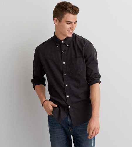 aeo solid poplin button down shirt american eagle wants