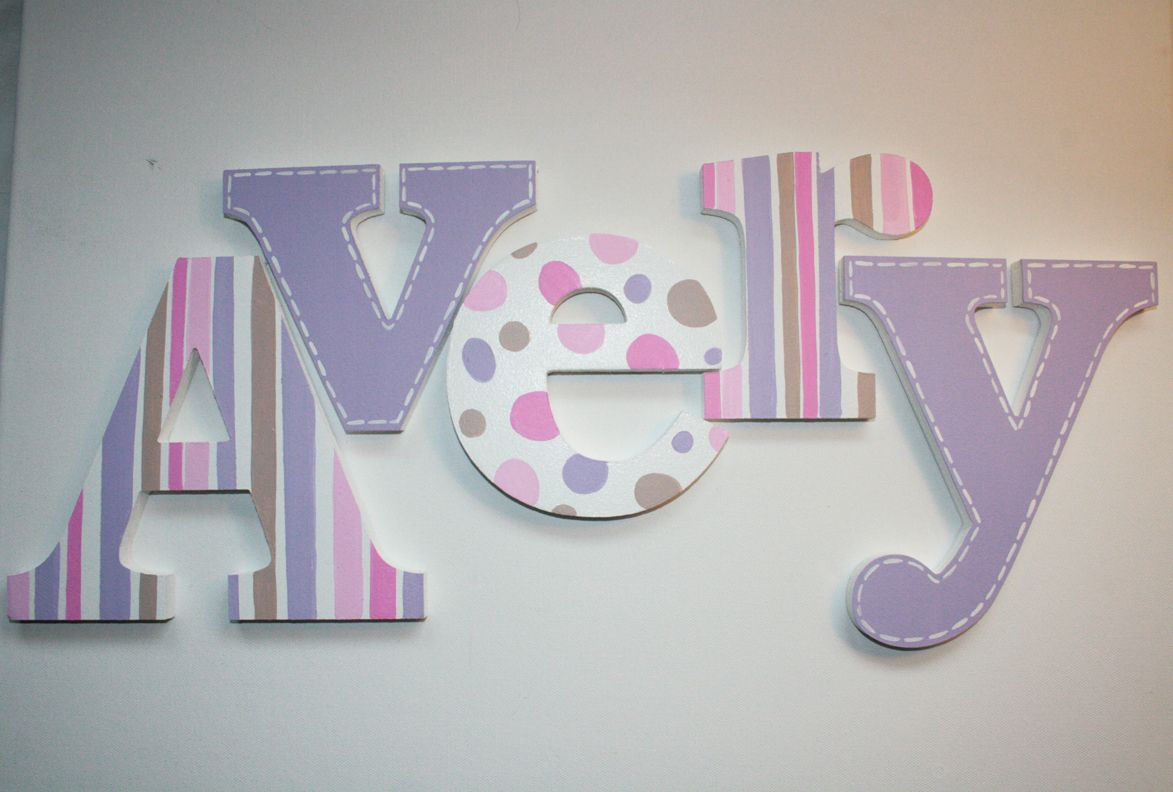 Hand Painted Wooden Letters Lavender Stripes And Stitching For Girls Room Or Nursery Room By Ww Painting Wooden Letters Wooden Letters Wooden Letters Decorated