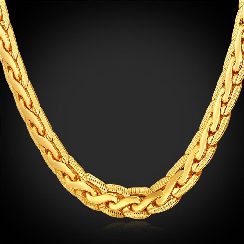 U7 Gold Plated Chain For Men Rose GoldBlack GunRose Gold Plated
