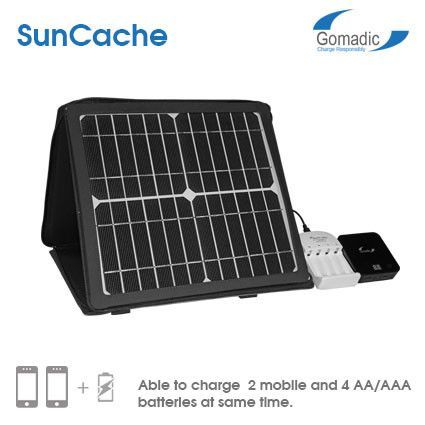 The Suncache Battery Charger Gives You 2 Ways To Charge Electronics The Power Of The Sun Will Go Into The Solar Panel Then Into The Batter Solar Battery Charger Solar Charger