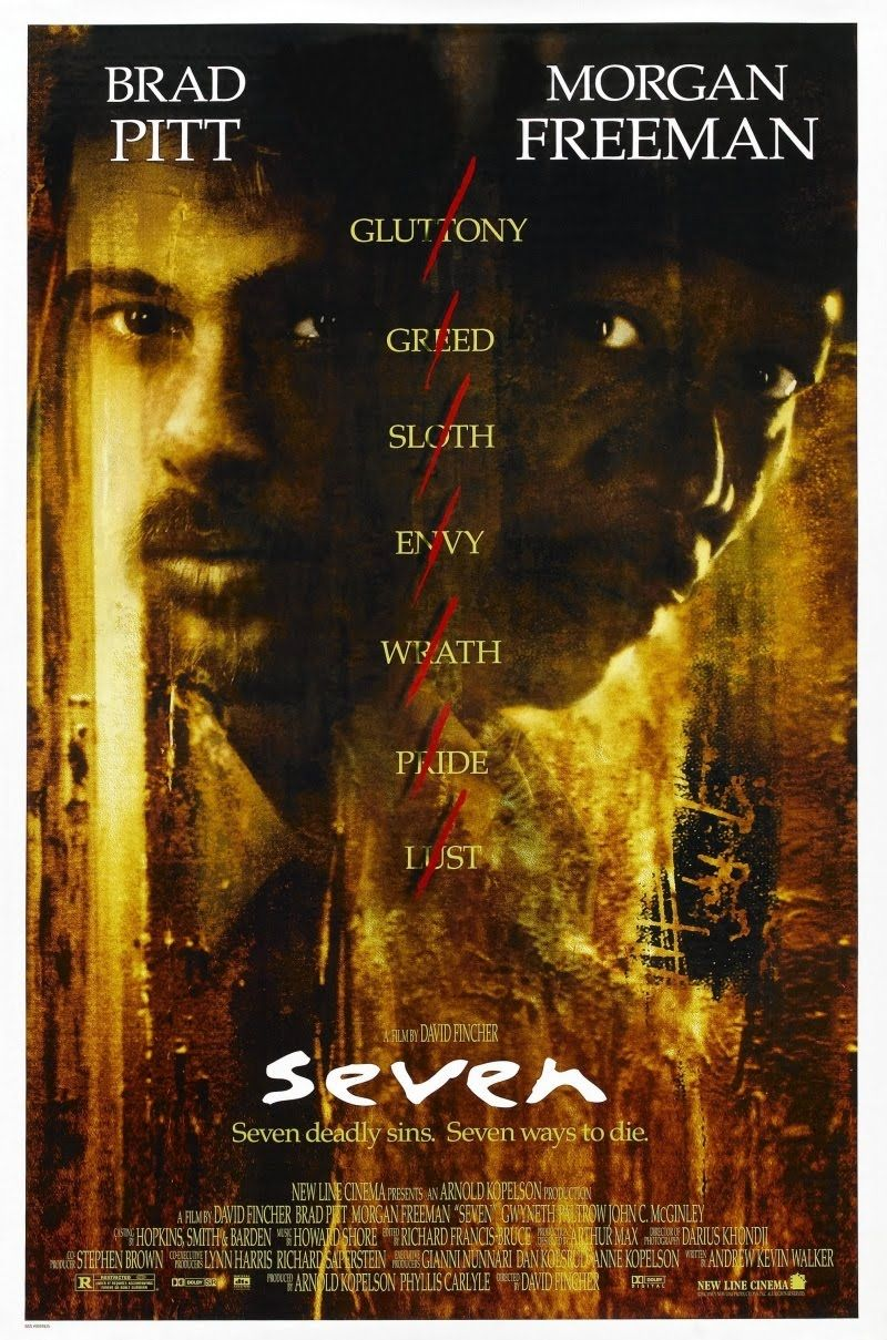 'Seven' Directed by David Fincher, Starring Brad Pitt and Morgan Freeman