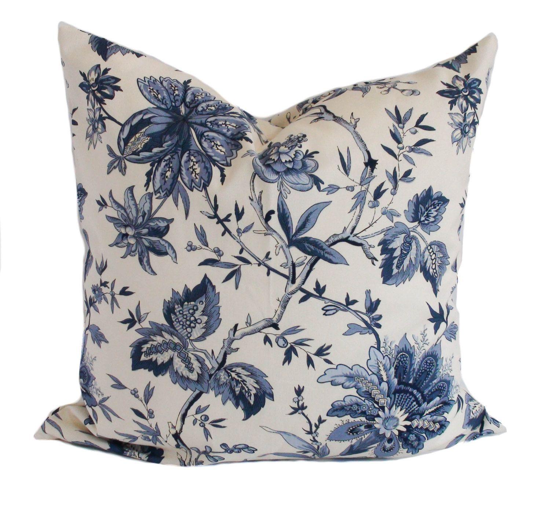 Blue cream decorative throw pillow cover with zipper