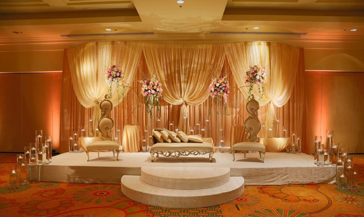 Nigerian wedding stage decoration  Wedding Flowers and Decorations  abhi  Pinterest  Golden tan