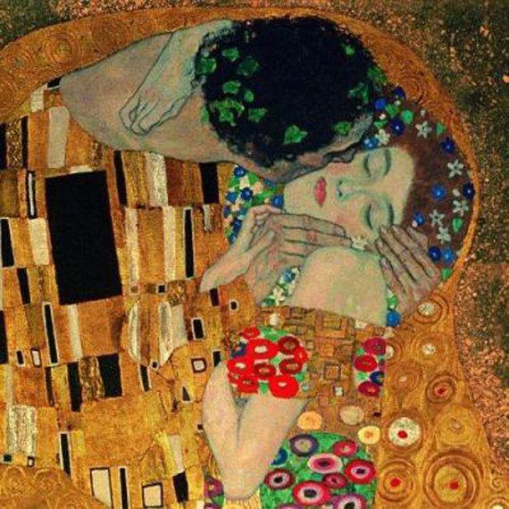 The Kiss by Gustav Klimt 12 x 12 Needlepoint Canvas by Venneart, $29.95