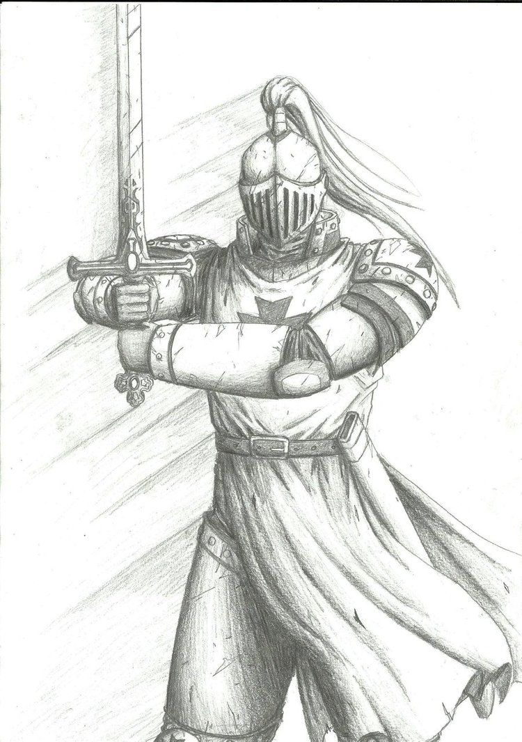 medieval knight drawing sketch template black white pinterest