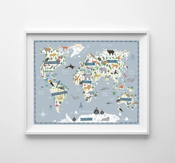 Map animals continents world map kids world map nursery animals map animals continents world map kids world map nursery animals gumiabroncs Image collections