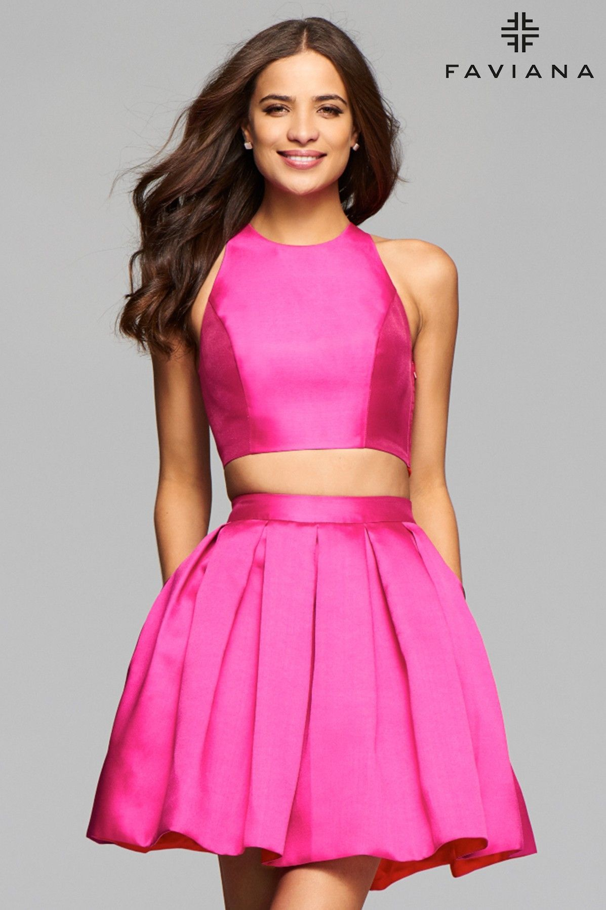 Short mikado two-piece cocktail dress with pleated skirt | Faviana ...