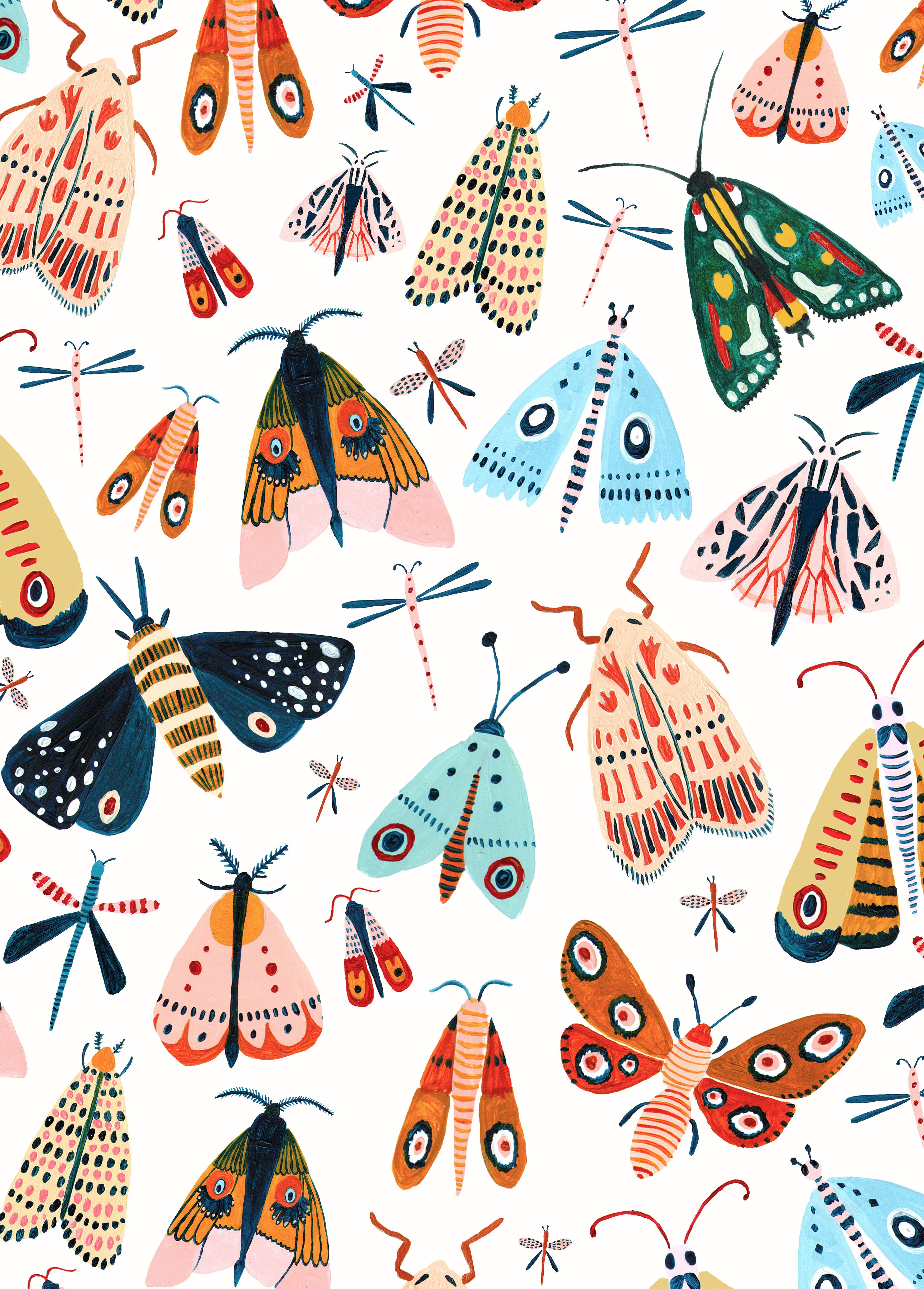 The Design A Playful Woodland Design Featuring All The Best Moth Species This Wall Art Wa Animal Design Illustration Illustration Art Nature Illustration