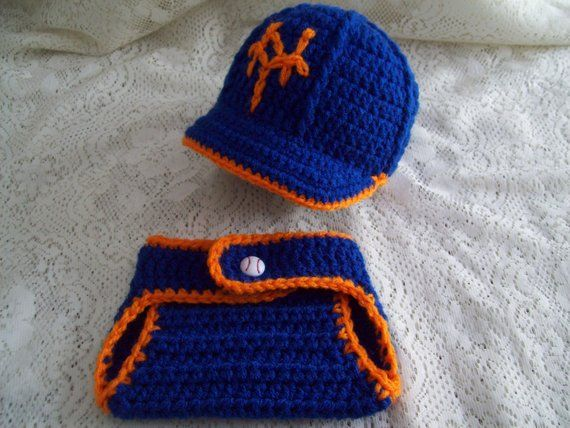 9725664beb5 Blue   Orange NY METS Baseball Hat w Brim and Diaper Cover Set Newborn  Photo Prop Hand-Crochet Spri
